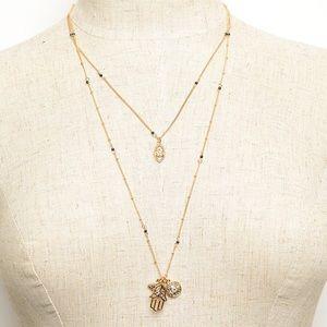 🆕 Gold Tone Hamsa Layered Necklace